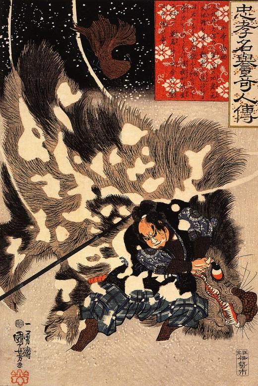 Yamamoto Kansuke fighting a giant boar.
